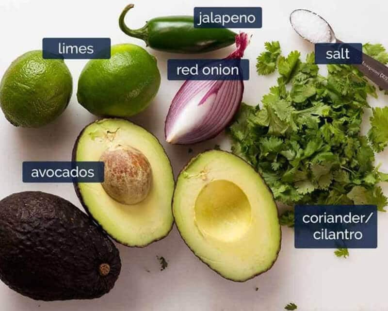 Homemade Best Guacamole Recipe - Ingredients