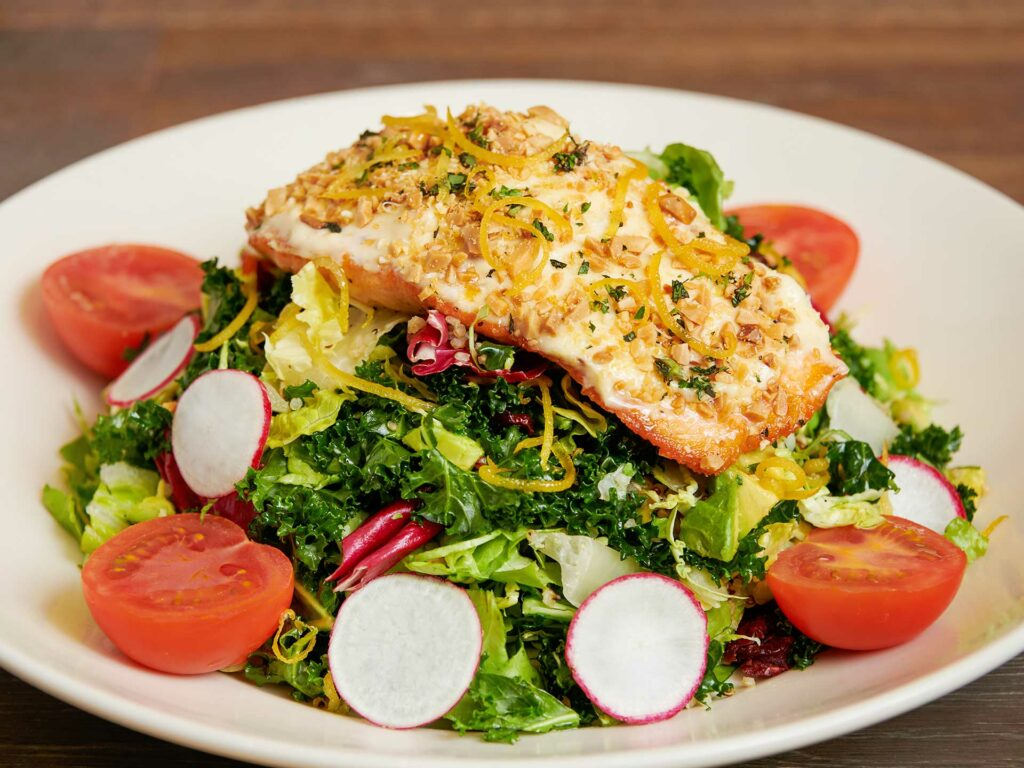 Almond-crusted Salmon Salad at Cheesecake Factory