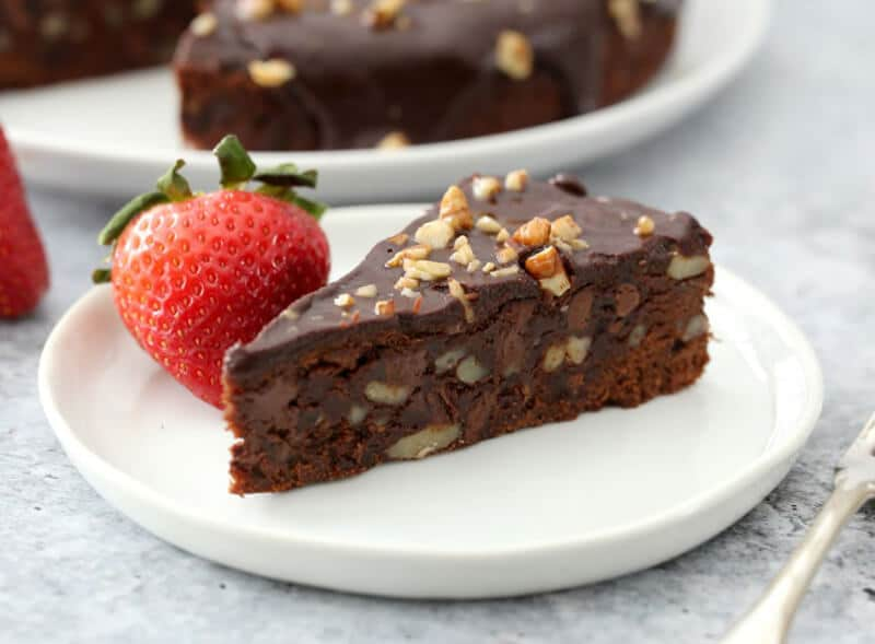 Immediate Pot brownies chopped on a plate