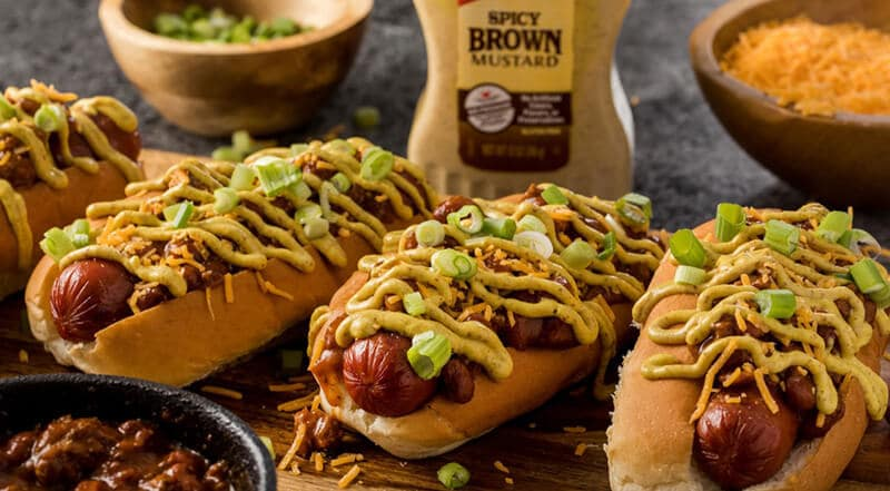 With Mustard Hot Dog