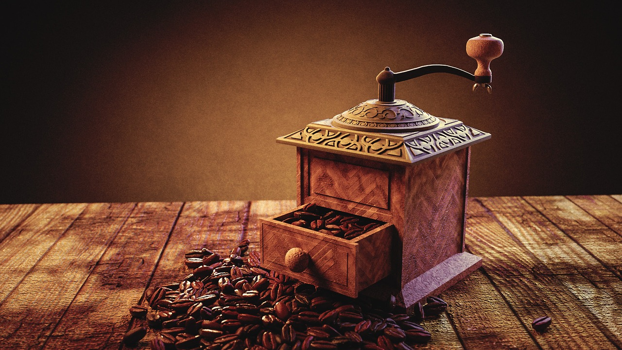 A coffee grinder is used for grinding fresh coffee from coffee beans