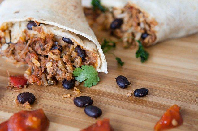 A delicious burrito made from canned chili.